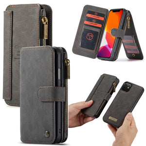 Wallet Business Magnetic Cards Multi functional Zipper Case For iPhone 11 Pro Max