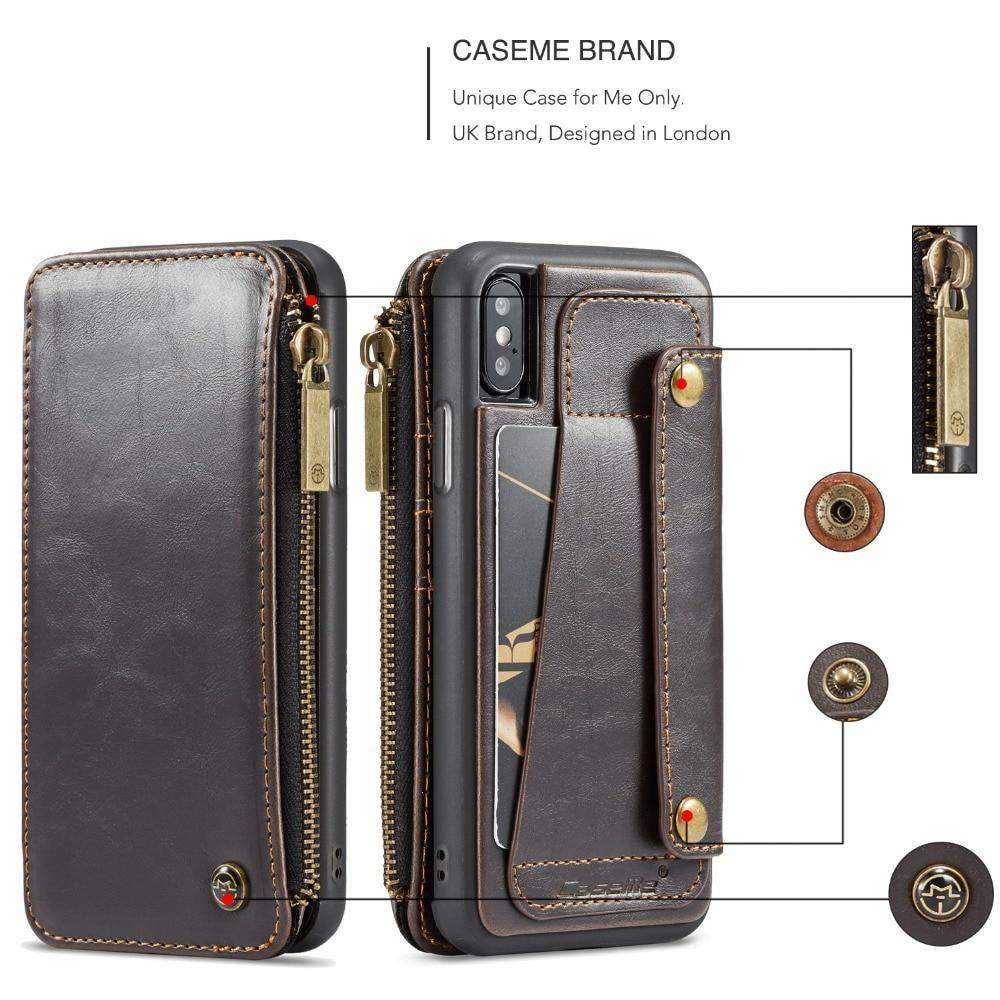 low priced aecf8 88839 Detachable Leather wallet Case for iPhone X Zipper Pocket Credit Card Slots