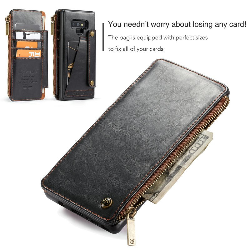 new styles 5bbeb b5d98 Leather wallet case For Galaxy Note 9 8 S9 Plus with Zipper slots & Cards