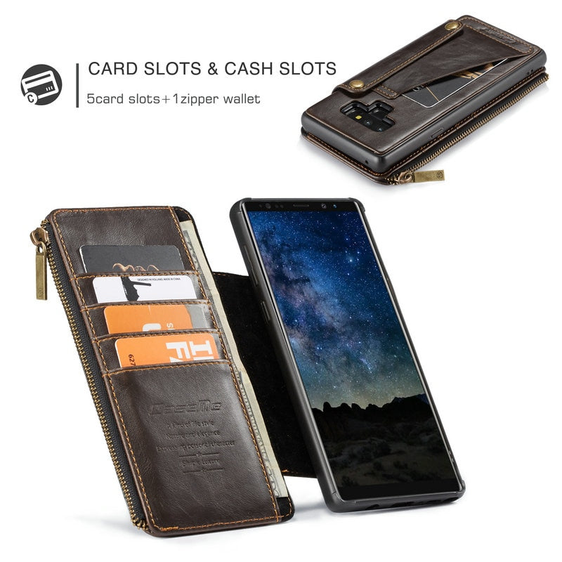 new styles fe377 da422 Leather wallet case For Galaxy Note 9 8 S9 Plus with Zipper slots & Cards