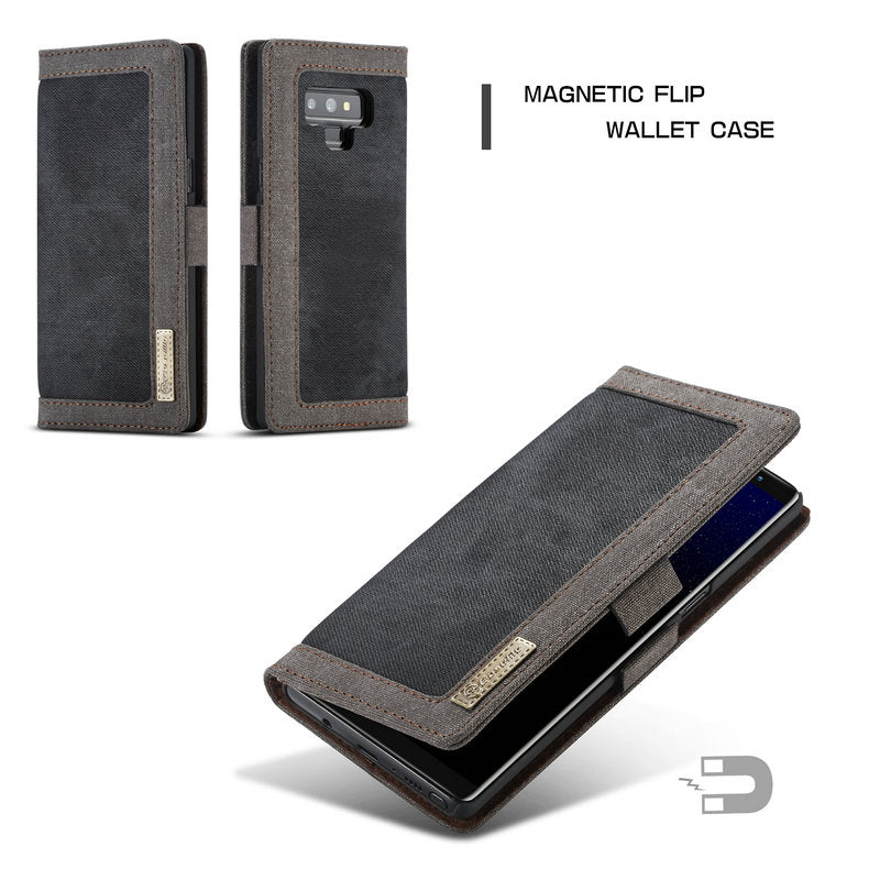 newest d6162 5682d Galaxy Note 9 Jean Leather Case with Credit Card Money Slots