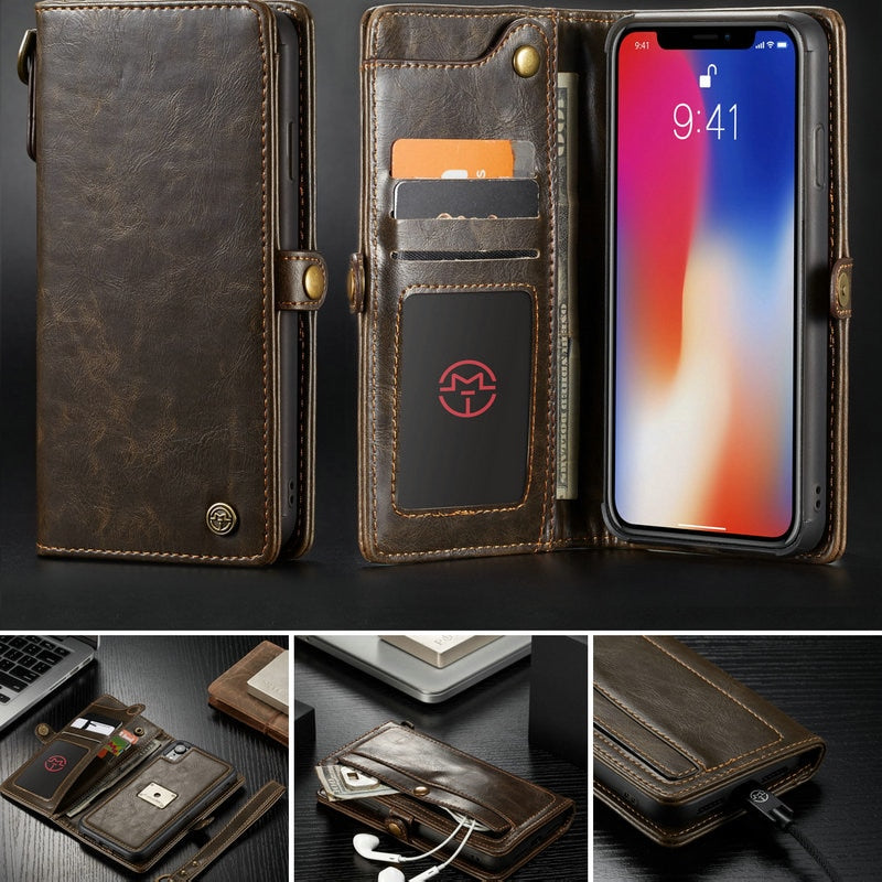 hot sale online 99c07 2e854 Wallet Case For iPhone XS XR XS Max with Wrist Strap Wireless Charging  Magnetic 2 in 1