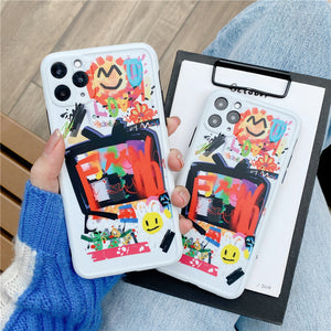 Luxury Cute Cartoon Doodle Smiley Soft Silicone Phone Case For IPhone 11 Series
