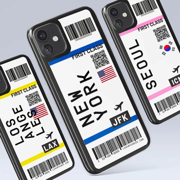 Cute Flight Ticket Letter Soft Silicone Back Cover Case For iPhone 11 Series