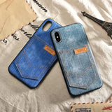 Denim Cowboy Leather Case for iphone X