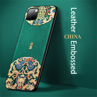 Embossed Leather Back Cover For iPhone 11 + 1 free Screen Protector