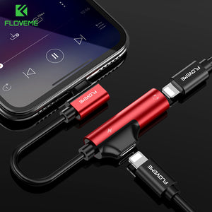 2 in 1 Charging Earphone Adapter for iPhone X 7 8 Plus