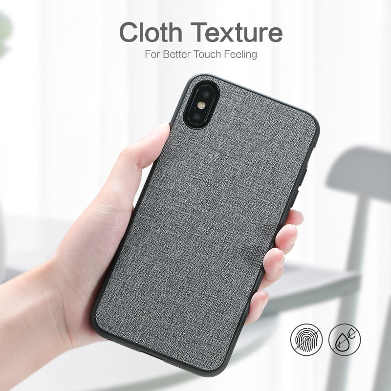super popular 4dc09 e106f Fabric Leather Case For iPhone X XS Max XR