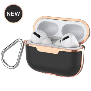 Luxury Plating PU Leather + Hard PC Shockproof Protective Cover For Apple AirPods Pro