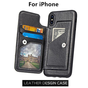 Only For iPhone X Anti Shock Magnet Buckle Card Pocket Holder