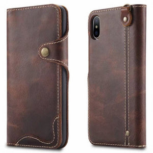 iPhone X Vintage Style Genuine Leather Wallet Case With Card Slots