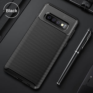 Carbon Fiber TPU Shockproof Case For Samsung Galaxy S10 S10 Plus S10e