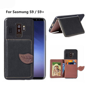 Anti Shock Flip Card Slot Stand Case For Samsung Galaxy S9 Plus