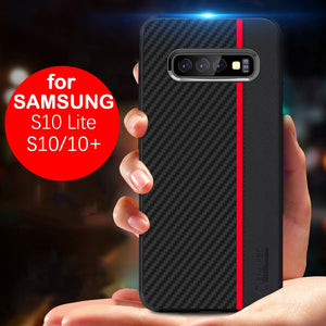 For Samsung Galaxy S10 S10 Plus S10e Fiber Leather Protect Case Super Shockproof