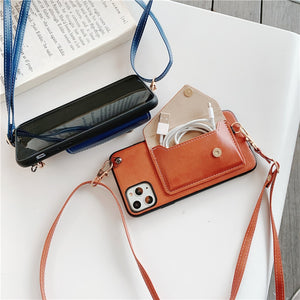 For iPhone 11 Pro Max Crossbody Card Pocket Wallet Case