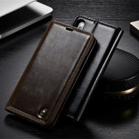 For iPhone XS XS Max Case Magnetic Card Slot Wallet High Quality Leather