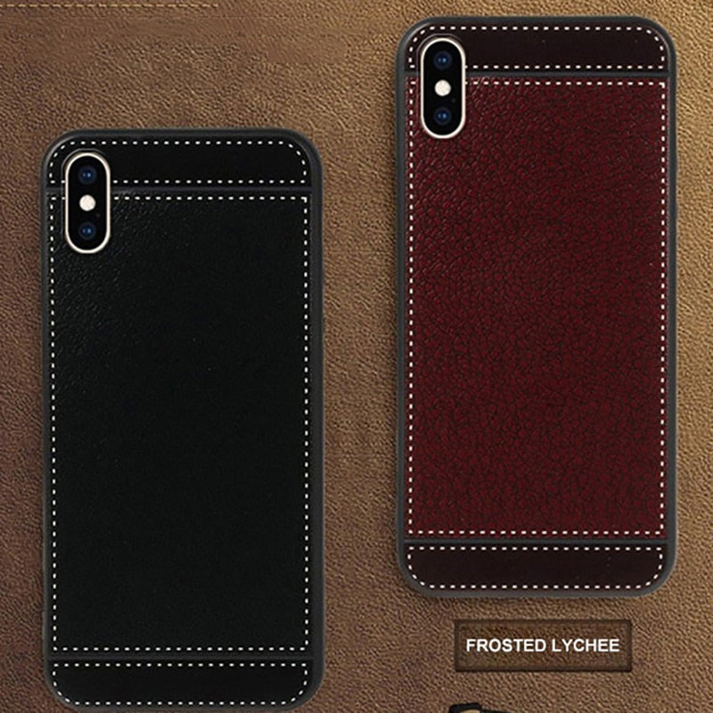 iphone xs max thin soft leather phone case