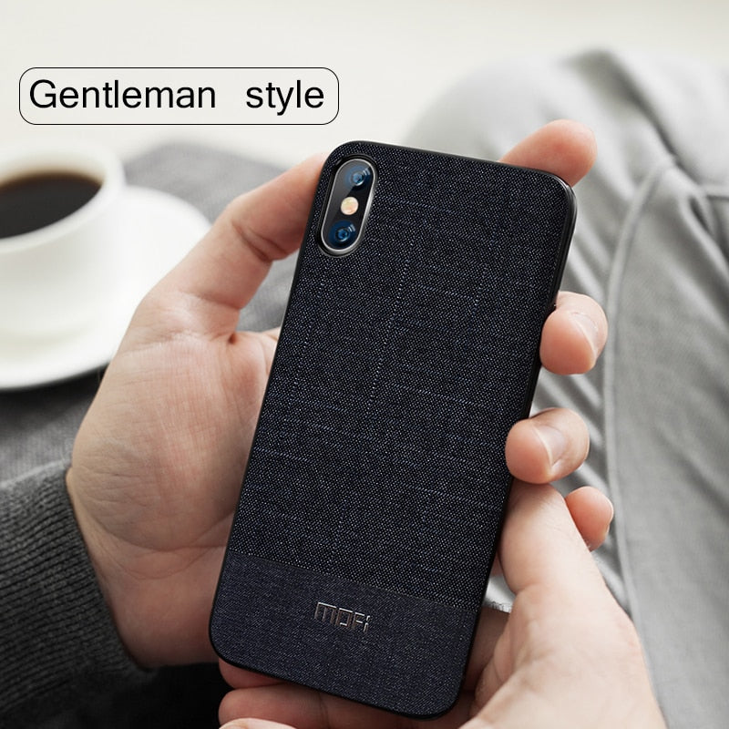 new style 0e233 499ac Business Suit Cloth Style Fabrics Case For iPhone X XS Max XR