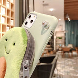 3D Cute Cartoon Plush Avocado Coin Purse Case For iphone 11 11 Pro Max