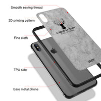For iPhone XS X 8 8 Plus Cloth Texture Case