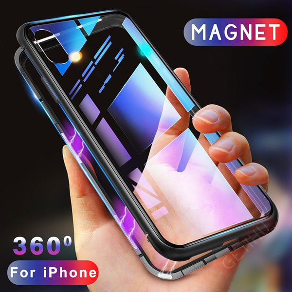 Magnetic Case for iPhone XR XS MAX X 8 Plus + Metal Tempered Glass