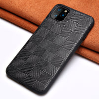 Genuine Lambskin Leather Square Grain Heavy Duty Protection Cases For iPhone 11 Pro Max X Series