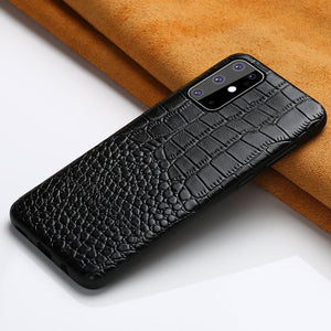 Genuine Leather Crocodile Grain Waterproof Anti-knock Case for Samsung Galaxy S20 Series
