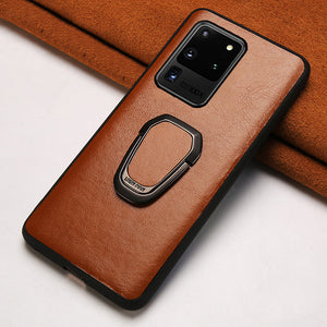 Genuine Oil Wax leather Ring Magnetic Phone Case For Samsung Galaxy S20 Series 100% Handmade Process