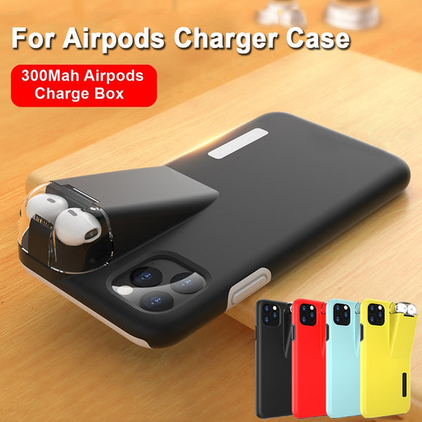 2 in 1 Hybrid Matte Anti-Fingerprint Shockproof Case With 300Mah Charger Box For Apple AirPods iPhone 11 Pro Max