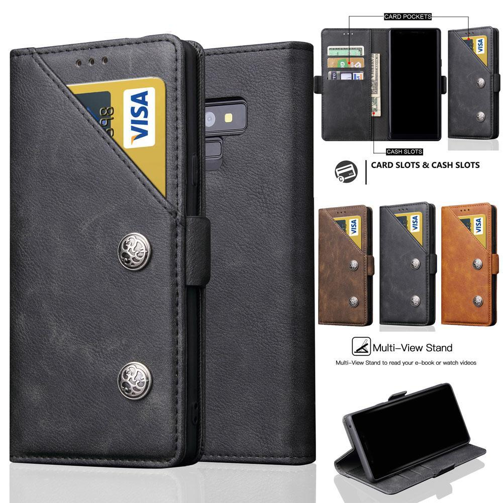 watch 56f97 ab08c Leather Bag Case For Samsung Galaxy Note 9 Luxury Leather Book Case