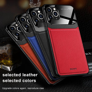 Leather Mirror Tempered Glass Case for iPhone 11 Pro Max XS XR XS Max
