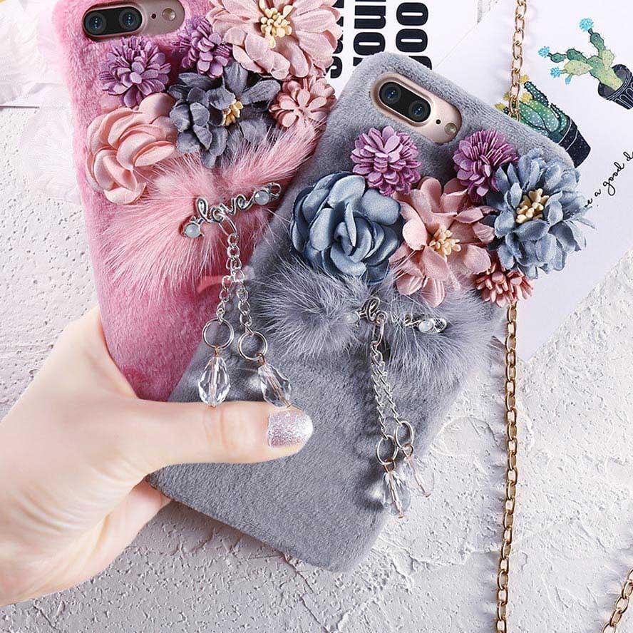 new product de9f6 f9f61 Luxury Bling Diamond Furry Cases For iPhone 8 7 6S 6 Plus
