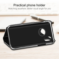 Crystal Clear Plain Mirror Flip Smart Case For iPhone X 8 7 6 6s Plus