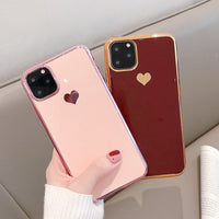 Electroplated Love Heart Phone Case Soft TPU Silicone Back Cover For iPhone 11 Pro Max