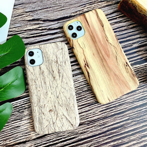 Wood Grain PU leather Waterproof Half-wrapped Case For iphone 11 Series
