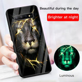 Luxury Luminous Tempered Glass Anti-knock Case For Samsung Galaxy S10 S9 Plus Note 9 10 Pro