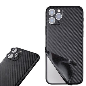 Luxury Durable Scratch-proof 3D Carbon Fiber Back Protective Skin Sticker For iPhone 11 Series