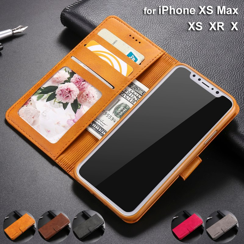 new style eb5c7 b391c Luxury Flip Leather Case for iPhone XS Max XR