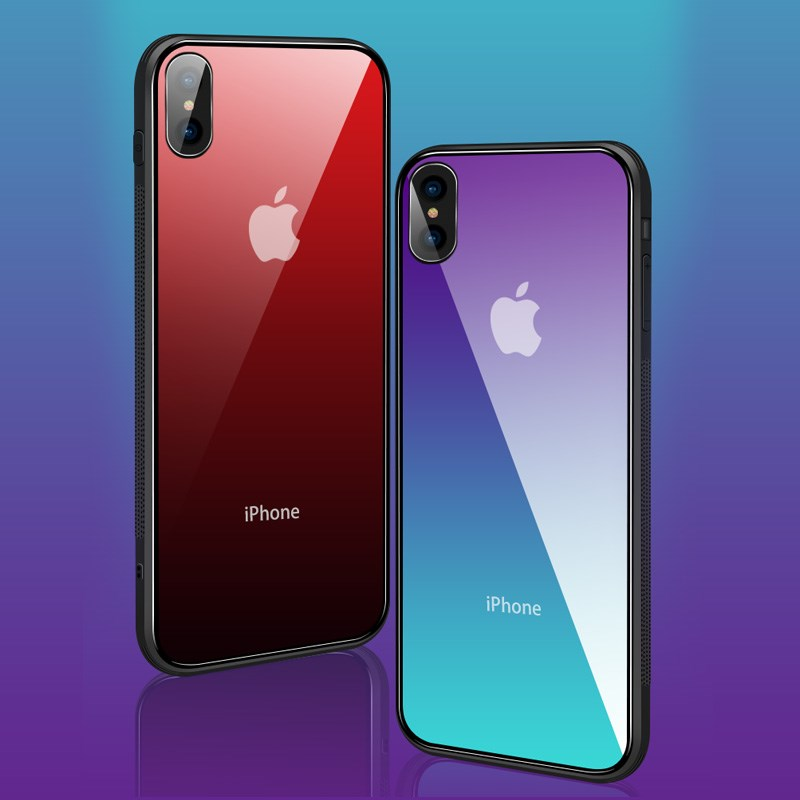 new arrival b7419 56cfe For iPhone X XS Max Gradient Color Tempered Glass Silicone Frame Phone Case