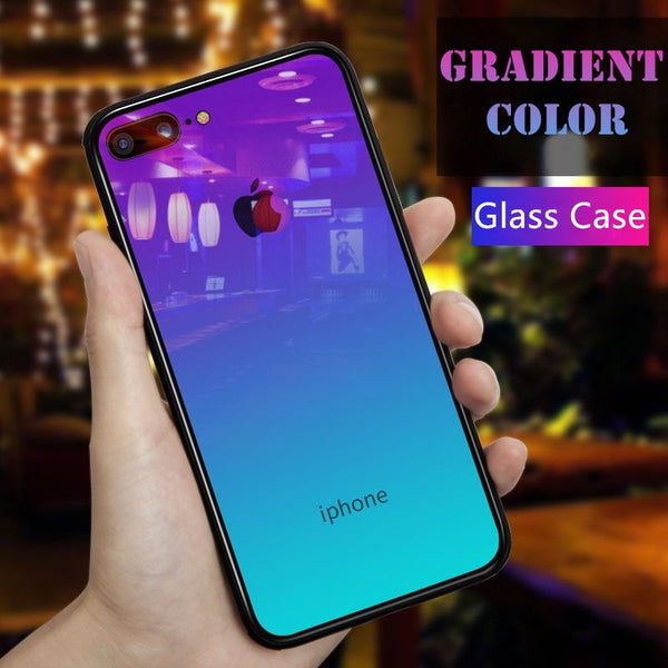 For iPhone X XS Max Gradient Color Tempered Glass Silicone Frame Phone Case