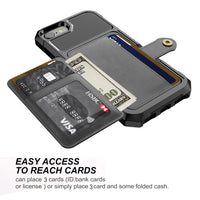 Credit Card Wallet Armor Case for iPhone X XS XR 8 7 6s Plus