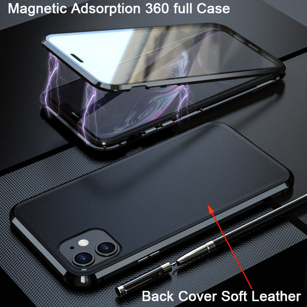 Magnetic 360 Full Protective Back Cover Soft Leather Case For iphone 11 Series