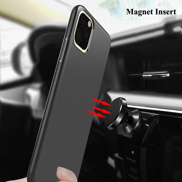 Magnetic Car Holder Case Soft Matte Silicone Cover for iPhone 11 Pro Max XR XS