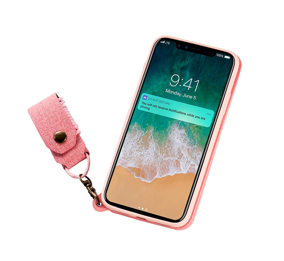 sports shoes 22cfa f017d Make-up Mirror Lanyard Leather Wallet Case For iPhone X 8 7 6