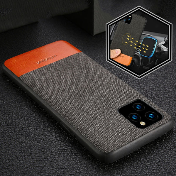 Men Business Fabric Magnetic Shockproof Case for iPhone 11 Pro Max