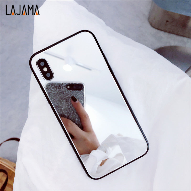 sale retailer 7591b 776f7 Mirror Tempered Glass Case for iPhone X 8 7 6 Plus