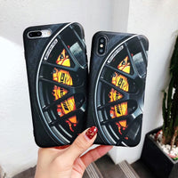 Car Wheel Design Soft Silicon Case for iPhone 6 6s 7 8 Plus X XS XR Max