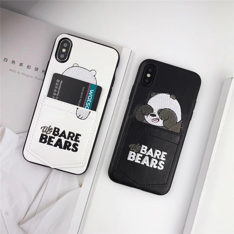 2a4b2d1c5d Embroidery We Bare Bears Card Pocket Case For iPhone X XS Max RX ...