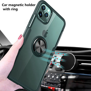 Ring Holder Car Magnetic Case with Tempered Glass Transparent Back Cover For iPhone 11 11 Pro 11 Pro MAX XS XR XS MAX