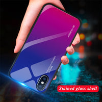 Tempered Glass Phone Case For iphone XS MAX XR X 8 7 6 6s Plus Cases Gradient Color
